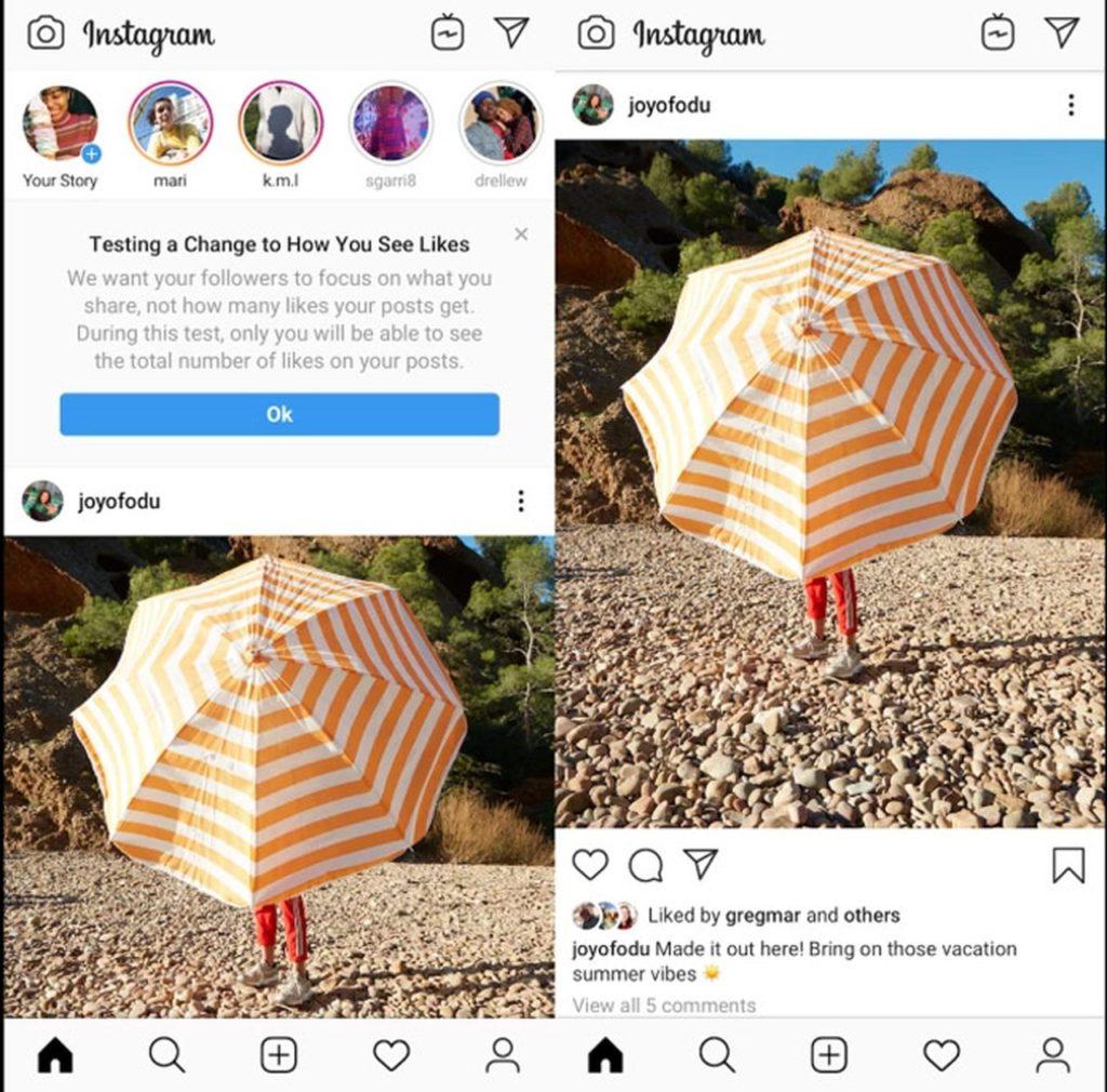 O Instagram sem likes ficaria assim. Qual sua opinião sobre essa mudança?